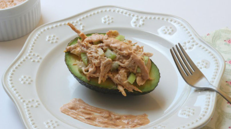 Stuffed Avocado with Chicken and Yogurt Chipotle Sauce