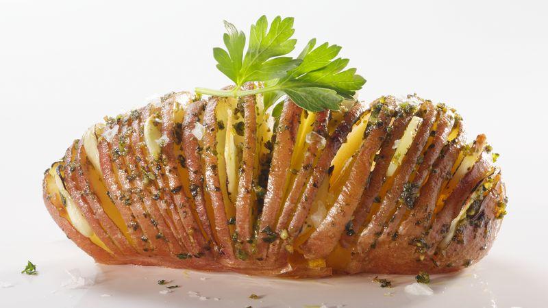 Pesto Dipped Accordion Potatoes