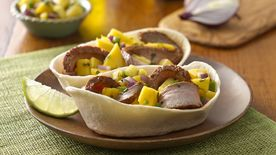 Flank Steak Taco Boats with Mango Salsa