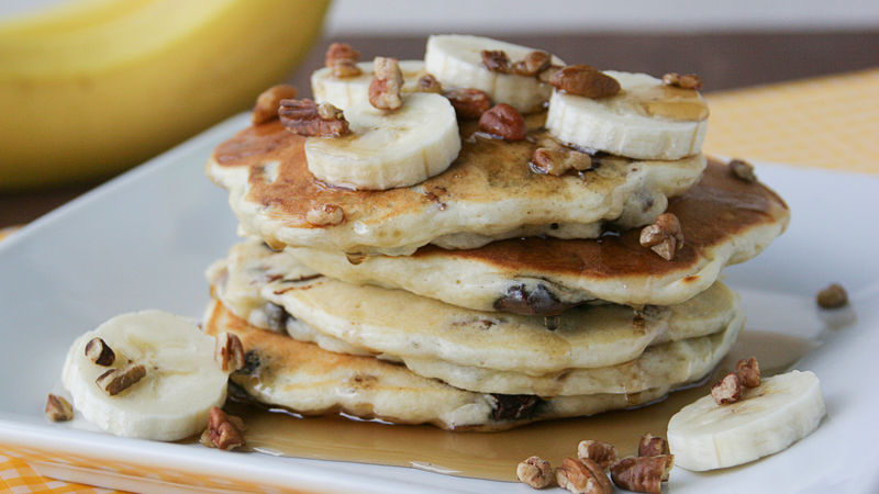 Banana Chocolate Pecan Pancakes Recipe Bettycrocker Com