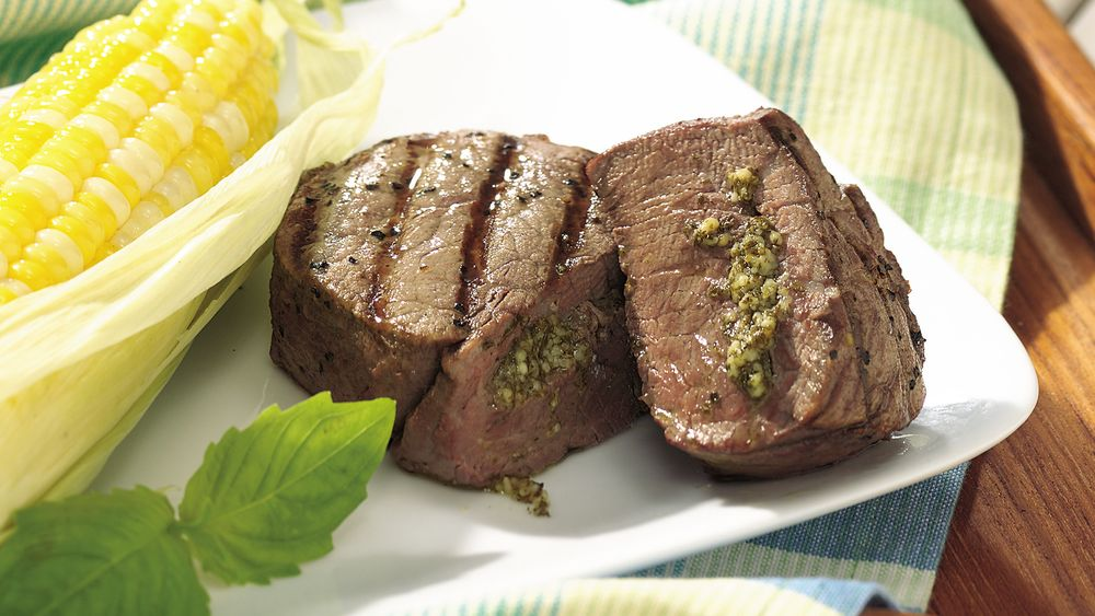 Grilled Pesto-Stuffed Tenderloin Steaks