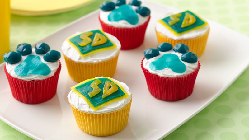 ScoobyDoo Paw Print Cupcakes Recipe BettyCrockercom