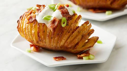 Air Fryer Bacon-Ranch Hasselback Potatoes
