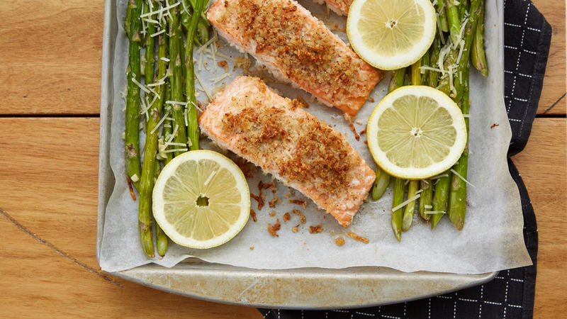 Salmon And Asparagus Sheet Pan Dinner Recipe Pillsbury Com