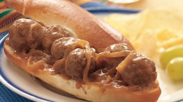 Slow-Cooker Meatball and Gravy Sandwiches