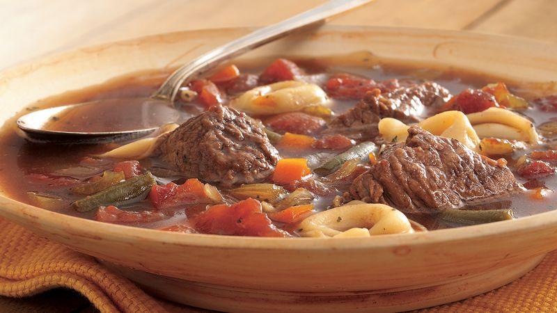 Slow Cooker Beef-Tortellini Soup
