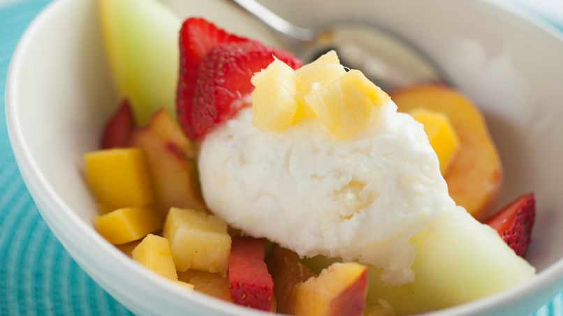Pineapple Sherbet with Summer Fruit