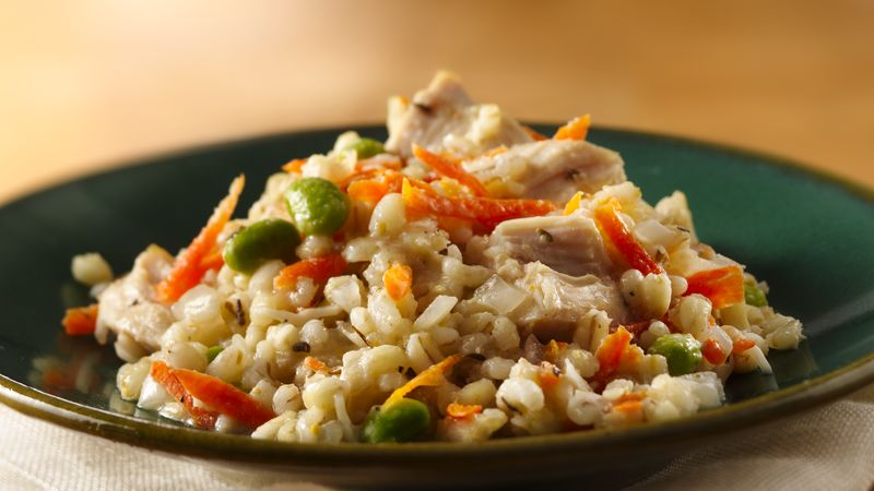 Slow-Cooker Chicken and Barley Risotto with Edamame