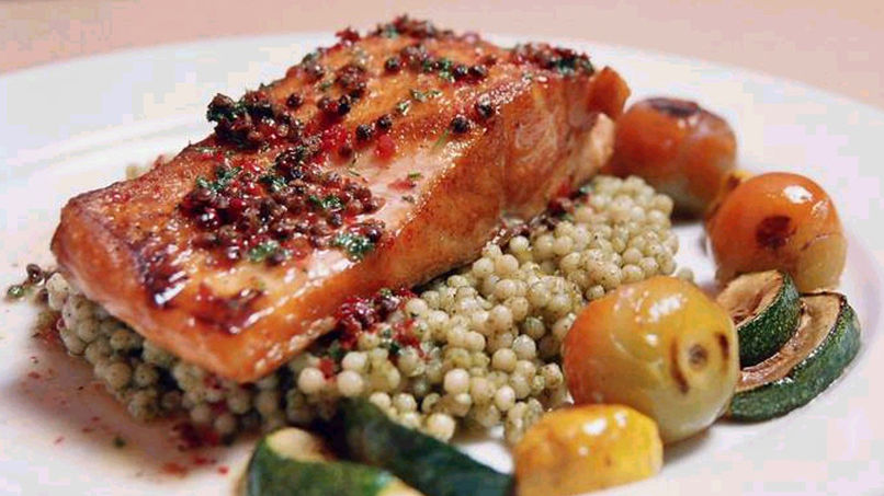 Honey Infused Salmon with Israeli Couscous