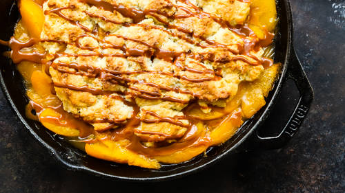 Skillet Peach Cobbler with Dulce de Leche