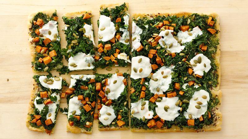 Pesto, Kale and Sweet Potato Pizza