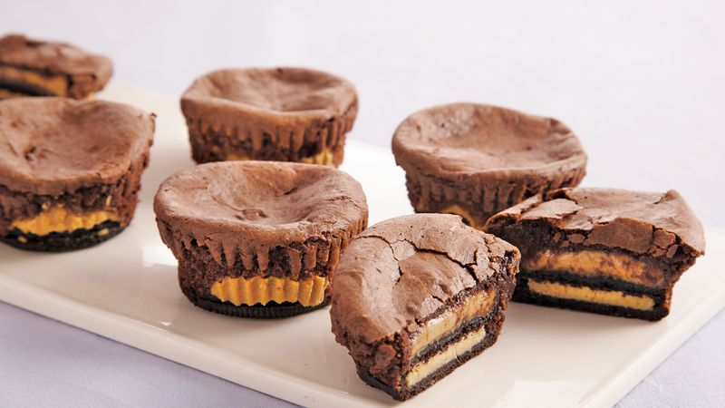 Coupes de brownies au beurre d'arachide