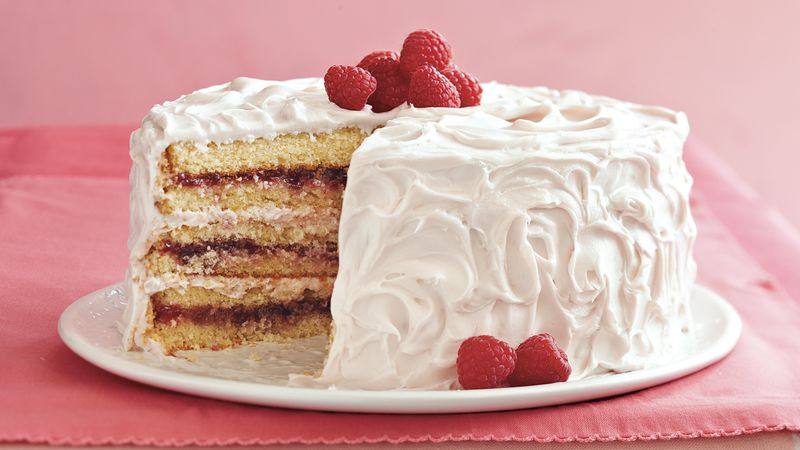 Raspberry Laced Vanilla Cake Recipe Tablespoon Com