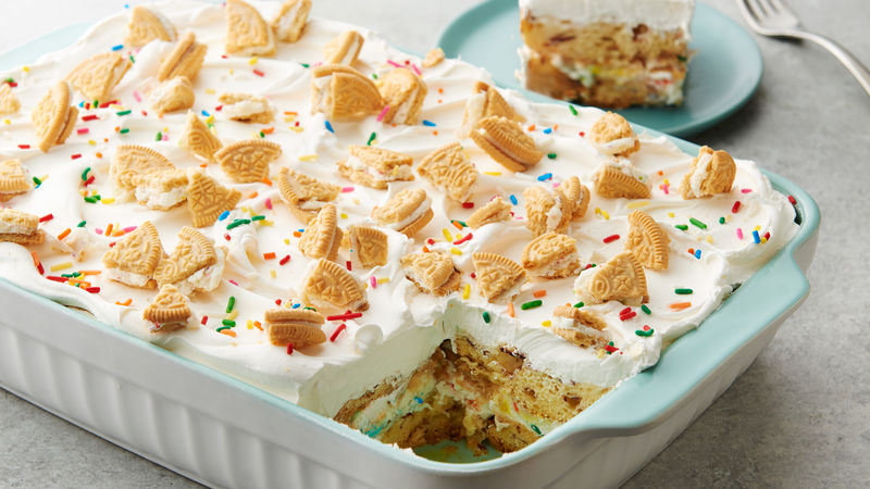Birthday Cake Cinnamon Roll Lasagna