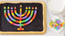 Rainbow Menorah Cookie Pizza