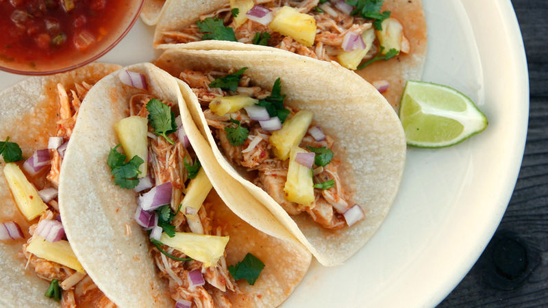 Chicken Tacos al Pastor in a Slow Cooker