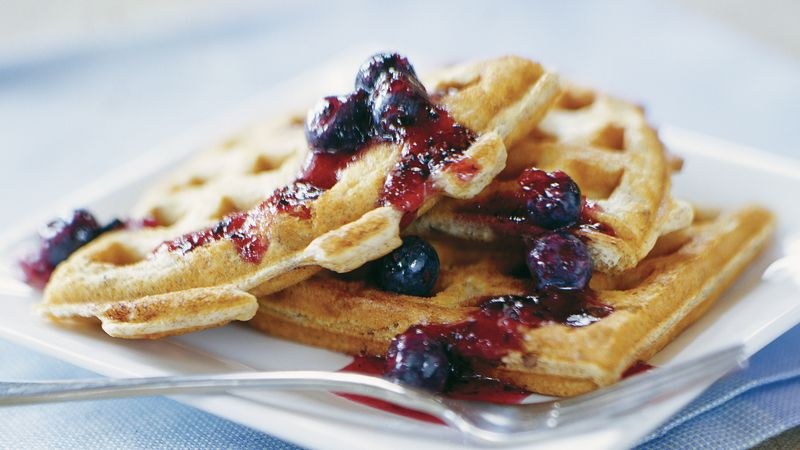 Skinny Hearty Waffles with Blueberry Sauce