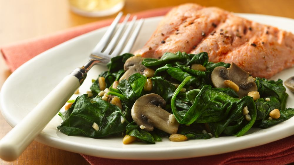 Dilly Spinach with Mushrooms
