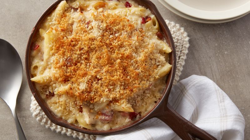 Chicken, Bacon and Caramelized Onion Pasta Bake (Cooking for 2)