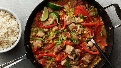 Skillet Coconut Miso Chicken with Peppers and Corn
