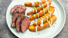 Pepper-Crusted Hanger Steak with Sweet Potatoes and Avocado Crema