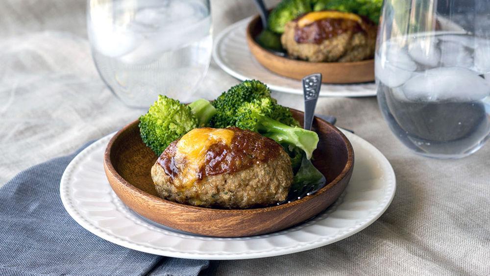 Cheesy Mini BBQ Turkey Meatloaves