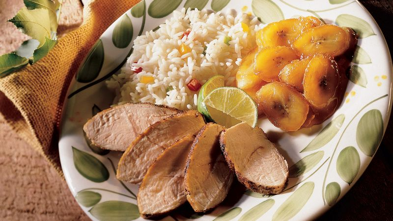 Caribbean Jerk Turkey with Bananas