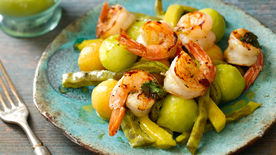 Nopal Salad with Grilled Shrimp and Cilantro Vinaigrette