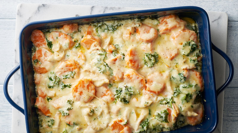 Cheesy Chicken and Sweet Potato Casserole