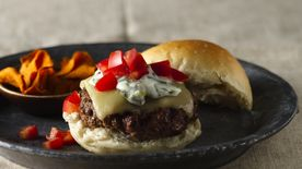 Beef and Chorizo Burgers with Roasted Chile Mayonnaise