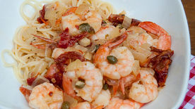 Mediterranean Shrimp with Angel Hair Pasta