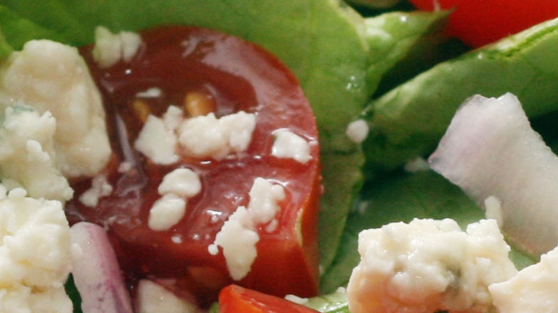 Blue Cheesed Green Salad with Pear Dressing