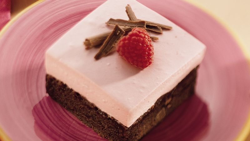 Raspberry Cream-Brownie Dessert Squares