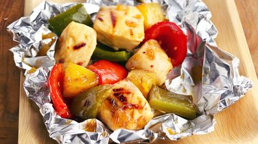 Grilled Pineapple-Chicken Kabob Foil Packs