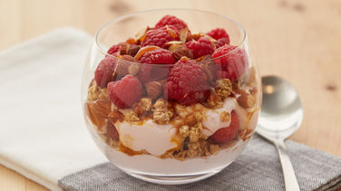 Berry Caramel Cheesecake Protein Parfait