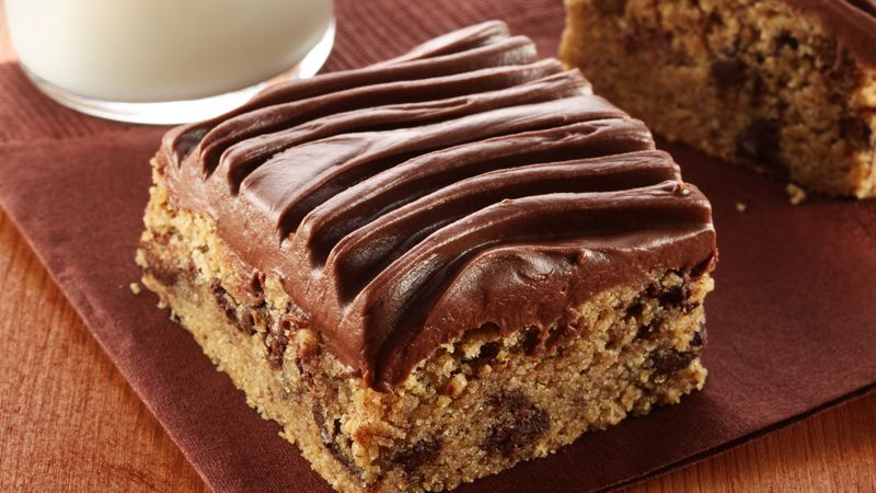 Gluten-Free Peanut Butter Chocolate Chip Bars with Chocolate Frosting