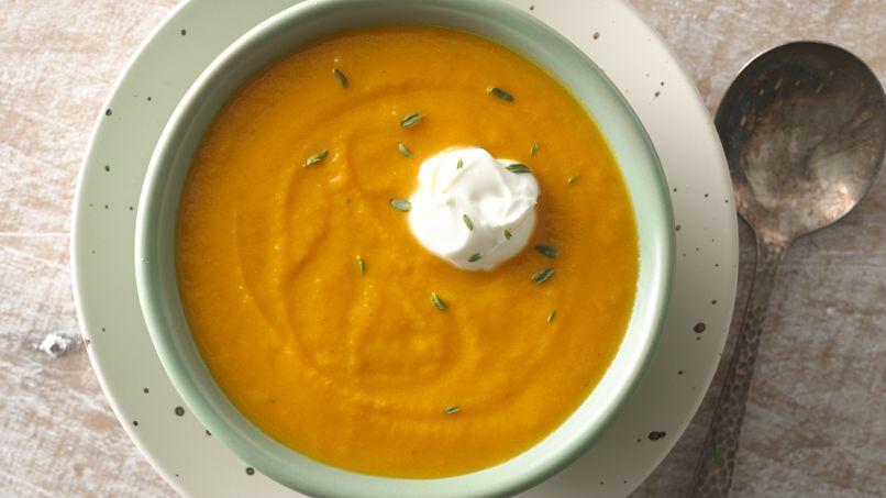 Roasted Carrot Soup with Crème Fraîche