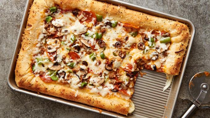 Sheet-Pan Cheese-Stuffed-Crust Pizza