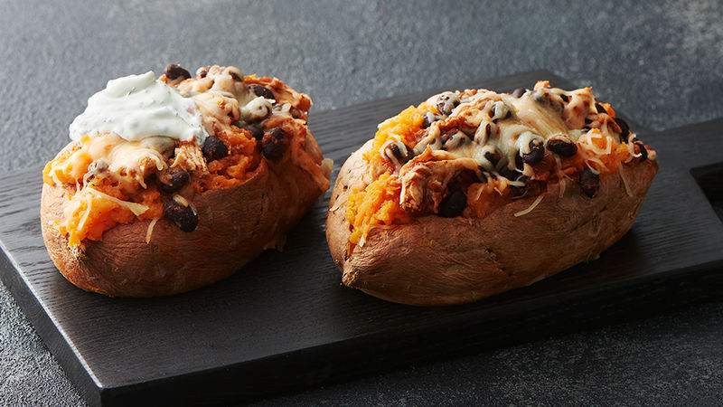 Microwave Stuffed Sweet Potatoes With Chicken And Black Beans Recipe Tablespoon Com
