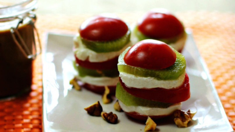 Kiwi, Tomato, Goat Cheese and Walnut Tower