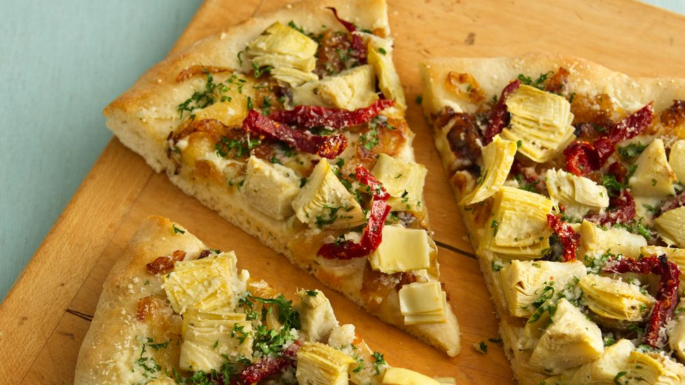 Luscious Artichoke Heart Pizza recipe from Pillsbury.com