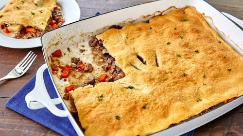 Crescent Topped Beef Pot Pie Recipe Pillsbury Com