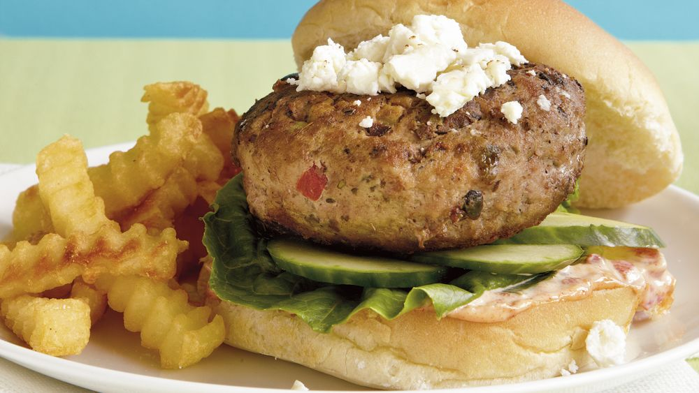 Greek Turkey and Feta Burgers