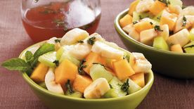 Melon and Bananas with Grapefruit-Mint Syrup