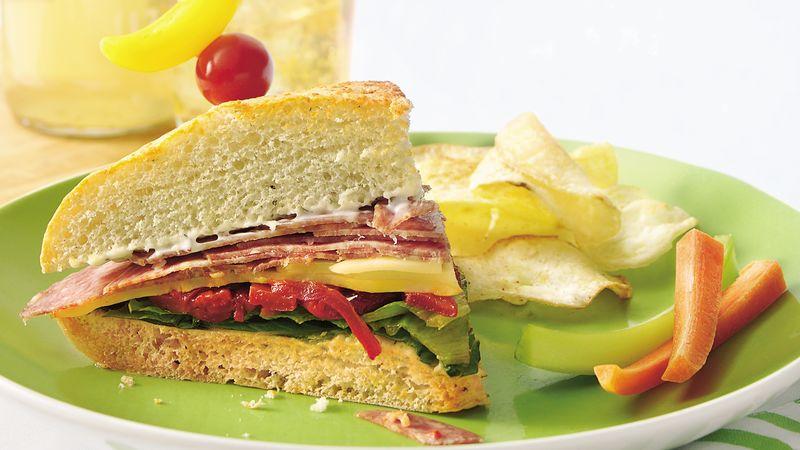 Antipasto Focaccia Sandwich Wedges
