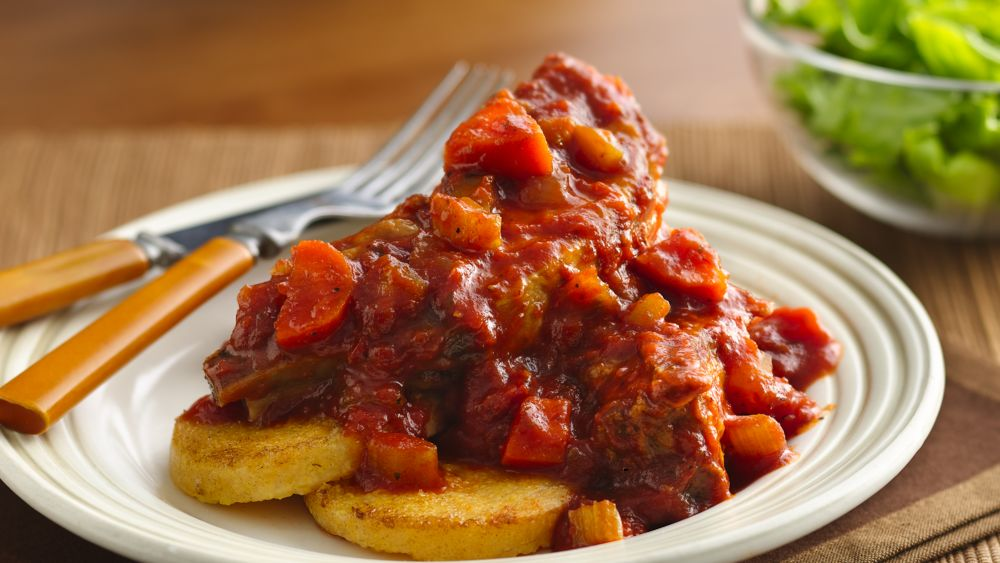 Pork and Polenta with Chunky Tomato Sauce