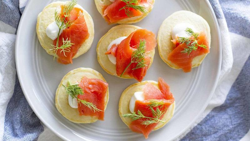 Mini Pancake Blini with Salmon and Dill