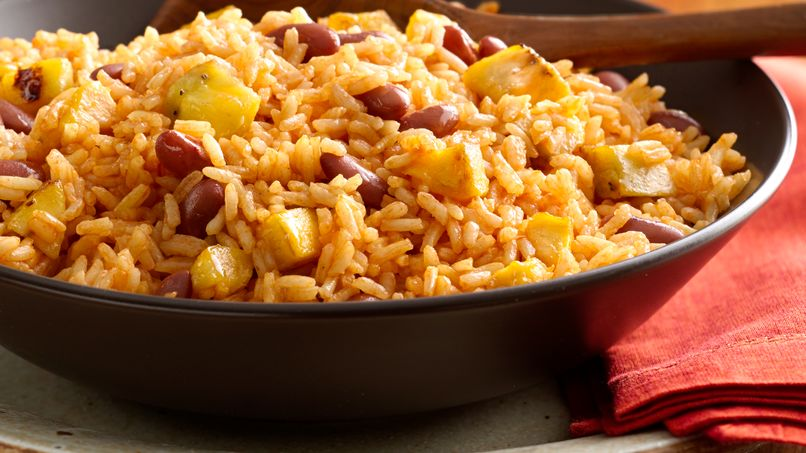 Rice with Beans and Sweet Plantain
