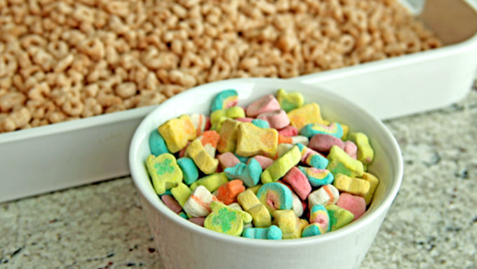Measure 2 Cups Of The Remaining Lucky CharmsTM Cereal Without Marshmallows Into Large Bowl Add ChexTM