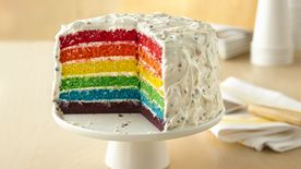 Rainbow Layer Cake With Chip Frosting